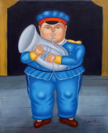 Art work by J. Horiton Omaggio a Botero - oil canvas