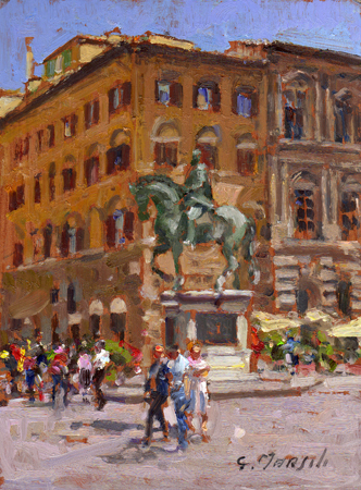 Art work by Graziano Marsili Piazza Signoria - oil table