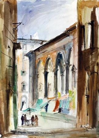 Art work by Rodolfo Marma Logge del Porcellino - Firenze - watercolor heavy-weight paper