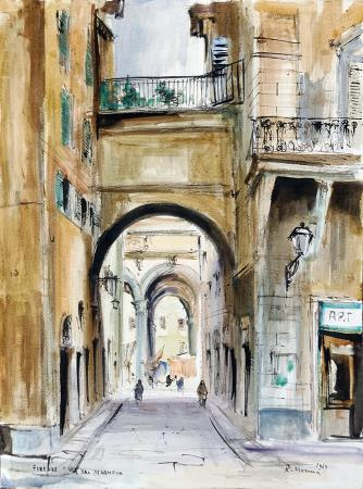 Art work by Rodolfo Marma Via Val di Lamona - Firenze - watercolor heavy-weight paper