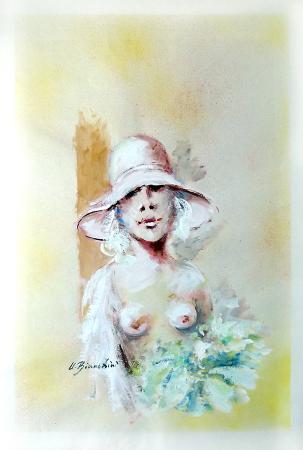 Quadro di Umberto Bianchini Figurina - tempera carta