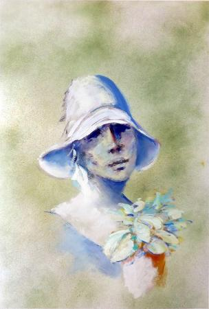Art work by Umberto Bianchini Volto con cappello - varnish paper
