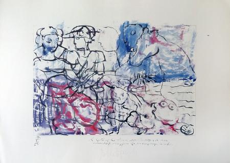 Quadro di Roberto Panichi Il Gatto dagli stivali, Cavallo Pazzo e il Pesce Innamorato omaggiano la principessa incinta - Pittori contemporanei galleria Firenze Art