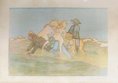 Quadro di Mino Maccari Figure scherzose - stampa carta