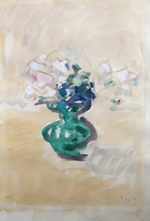 Art work by Enzo Pregno Vaso di fiori - watercolor paper