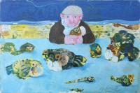 Quadro di Antonio Possenti - Il vecchio, il pesce, il serpente e il mare olio tavola