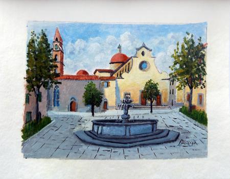Quadro di Giuliano Piazzini Santo Spirito - olio carta