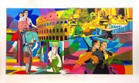 Quadro di Ugo Nespolo - Movie Time  litografia polimaterica carta