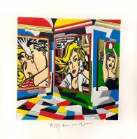 Quadro di Ugo Nespolo - Women's Time  litografia polimaterica carta