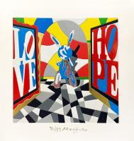 Quadro di Ugo Nespolo - Inflatable Jeff litografia polimaterica carta