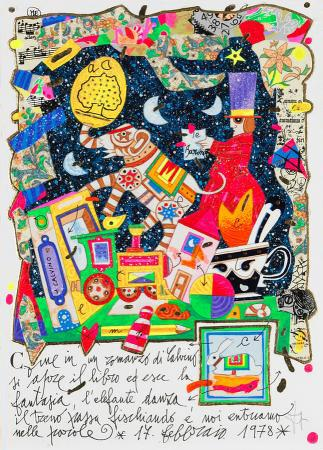 Quadro di Francesco Musante Come in un romanzo di Calvino - litografia polimaterica carta