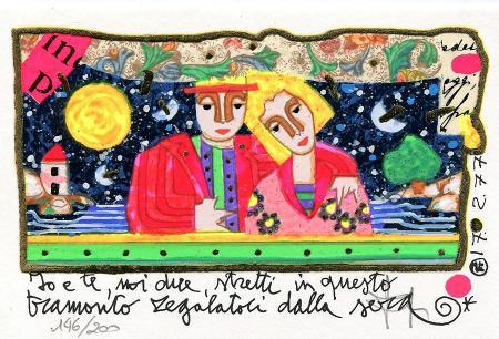 Quadro di Francesco Musante Io e te, noi due - litografia polimaterica carta