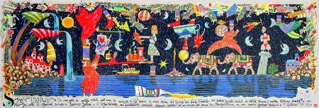 Quadro di Francesco Musante Sogno di una notte di mezza estate - litografia polimaterica carta