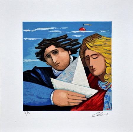 Quadro di Giampaolo Talani La barca del viaggio - litografia polimaterica carta