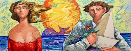Art work by Giampaolo Talani La barca e la rosa  - polymaterial lithography paper