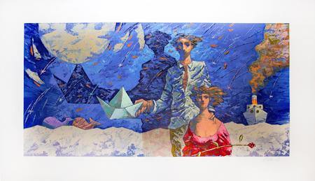 Art work by Giampaolo Talani Notte di San Lorenzo - polymaterial lithography paper