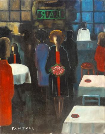Quadro di  Copie d'Autore Figure al bar (Eliano Fantuzzi) - olio tela