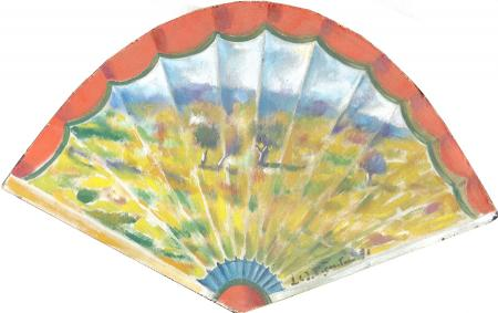 Quadro di Luigi Pignataro Paesaggio su ventaglio - olio cartone telato