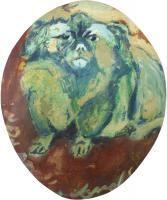 Work of firma Illeggibile - The dog oil cardboard