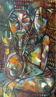 Work of Great  Status - The music girl oil canvas