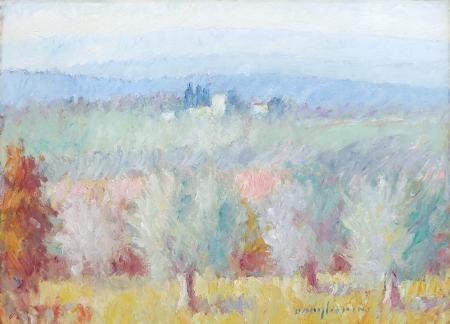 Quadro di Dino Migliorini Paesaggio di campagna - olio tavola
