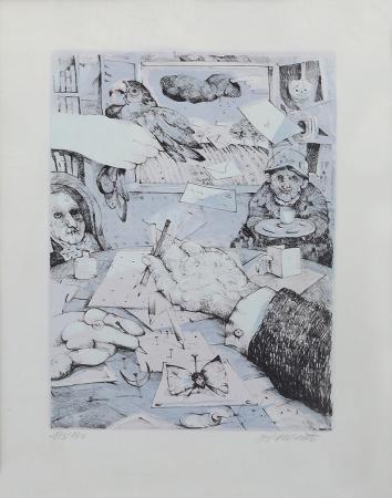 Quadro di Antonio Possenti La mano dell'artista - litografia carta