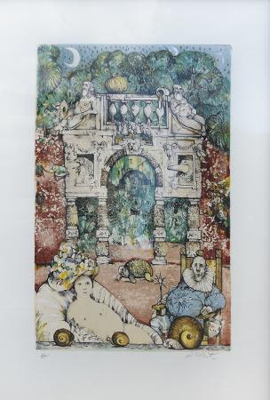 Quadro di Antonio Possenti Il giardino delle meraviglie - litografia carta