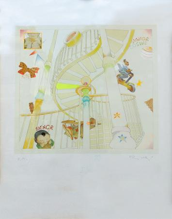 Quadro di Luca Alinari le scale del signor Cosini - mista carta