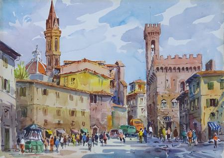 Art work by Giovanni Ospitali Piazza Signoria Firenze - watercolor paper