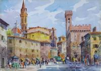 Work of Giovanni Ospitali - Piazza Signoria Firenze watercolor paper