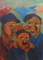 Work of Beppe Serafini - Tre uomini mixed cardboard