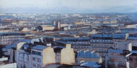 Quadro di Claudio Cionini Parigi da Montmartre  - mista cartone