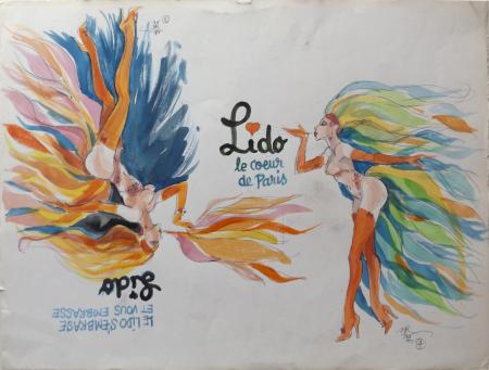 Art work by Claude Falbriard Lido - mixed paper