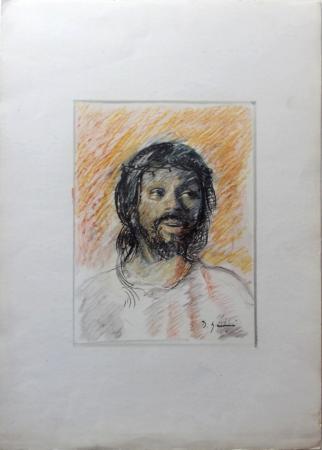Quadro di D. Giannini Volto di Cristo con corona di spine  - mista carta