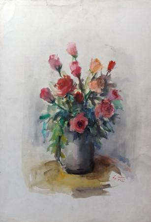 Quadro di Gino Tili Vaso con rose - acquerello carta