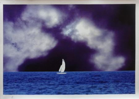 Quadro di Andrea Tirinnanzi L'ultima vela bianca  - ink jet tela