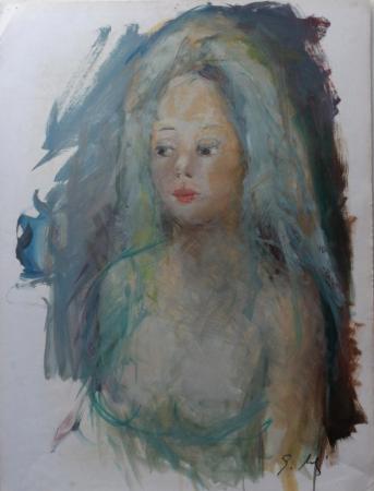 Quadro di Gino Tili Ritratto - acquerello carta