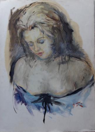 Quadro di Gino Tili Volto  - acquerello carta