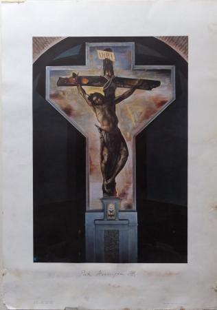 Art work by Pietro Annigoni Crocifisso - affresco nella chiesa di S. Martino a Castagno d'Andrea - print paper