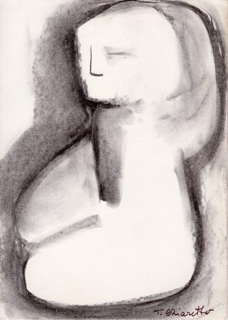 Quadro di T. Chiarotto Figura in ginocchio  - grafite carta