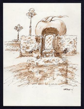 Quadro di Franco Lastraioli Giardino delle mele mangianti - china carta