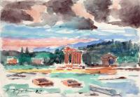 Quadro di Luigi Pignataro - Paesaggio acquerello carta ruvida
