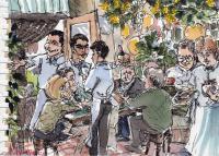 Quadro di firma Illeggibile - Il ristorante acquerello carta