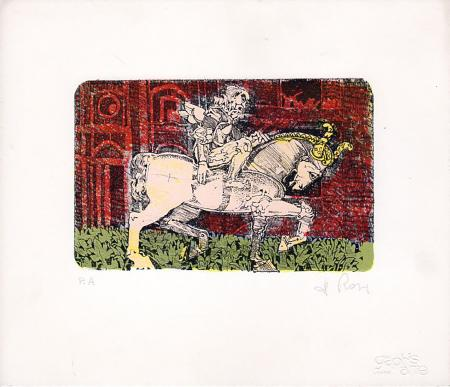 Art work by Raffaele De Rosa  Cavallo e cavaliere - lithography paper