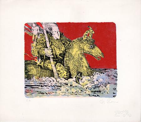 Art work by Raffaele De Rosa  Cavaliere e cavallo in mare - lithography paper