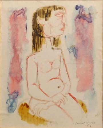 Quadro di Giuseppe Migneco Nudo di profilo - acquerello carta