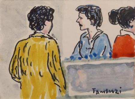 Quadro di Orfeo Tamburi Tre figure  - Pittori contemporanei galleria Firenze Art