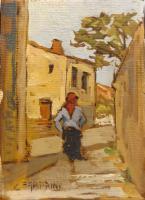 Work of Carlo Fabbrini - Contadina oil canvas