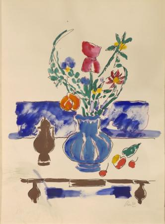 Quadro di Gastone Breddo Vaso blu con fiori  - acquerello carta