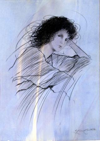 Quadro di Riccardo Benvenuti Figura di donna che si riposa  - mista carta